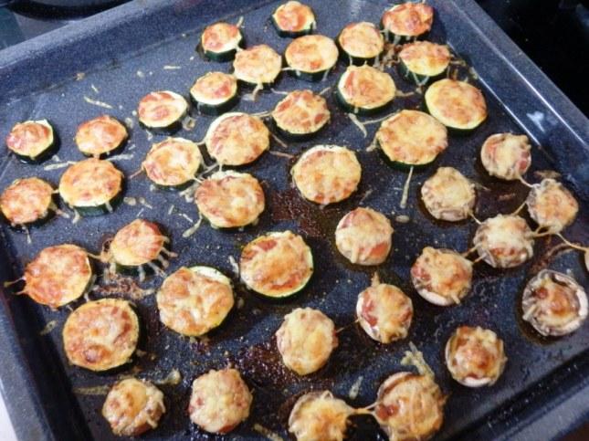 Mushroom and zucchini pizzas
