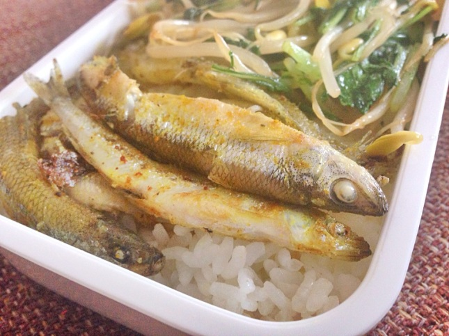 Curried Pan fried japanese smelt wakasagi